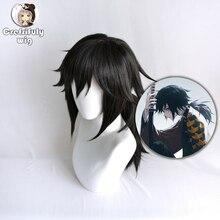 אנימה שד סלייר Kimetsu לא Yaiba Tomioka Giyuu שחור קוקו פאת קוספליי גברים נשים עמיד בחום סינטטי שיער פאות