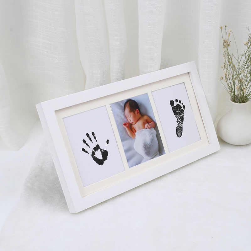 Tinta Tangan Kaki Print Photo Frame Bayi DIY Handprint Footprint Gambar Baru Lahir Memorial Tumbuh Item Souvenir Kaki Pad