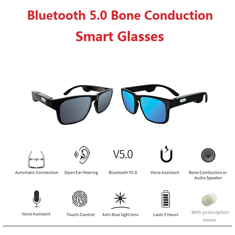 Bone Conduction Wireless Bluetooth 5.0 Smart Glasses Stereo Headset Polarized Sunglasses Can Be Matched With Prescription Lens