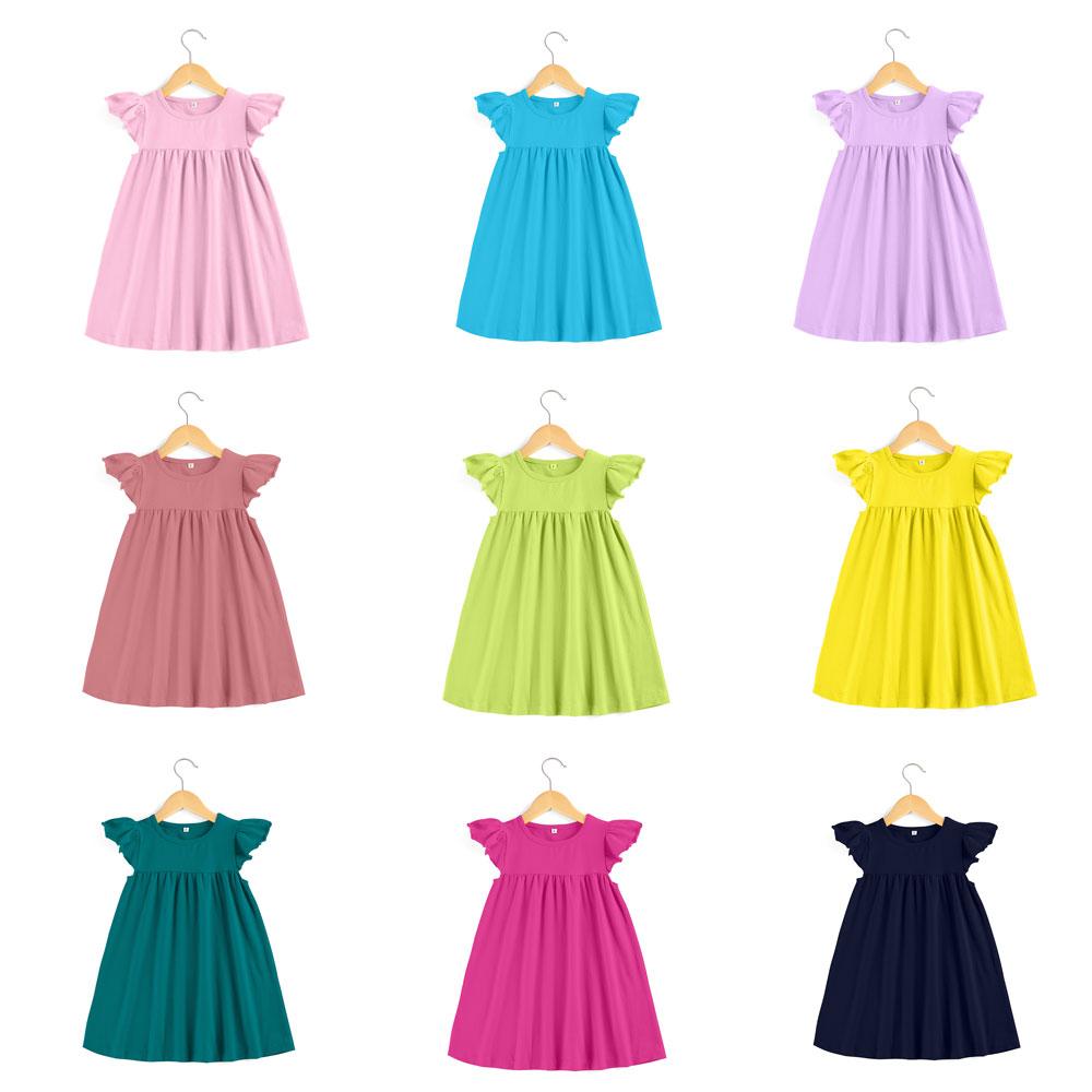 Baby Dresses Boutique Kids Ruffle Pearl Dress Little Girls Dresses Cotton Toddler Girls Smocked Flutter Sleeve Blank Dress