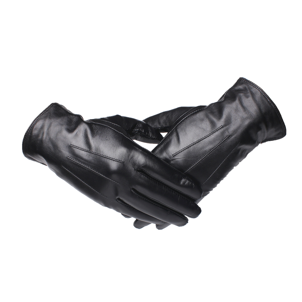 Gours Genuine Leather Gloves For Men Fashion Brand Black Goatskin Finger Gloves Driving Warm In Thick Winter New Arrival GSM043