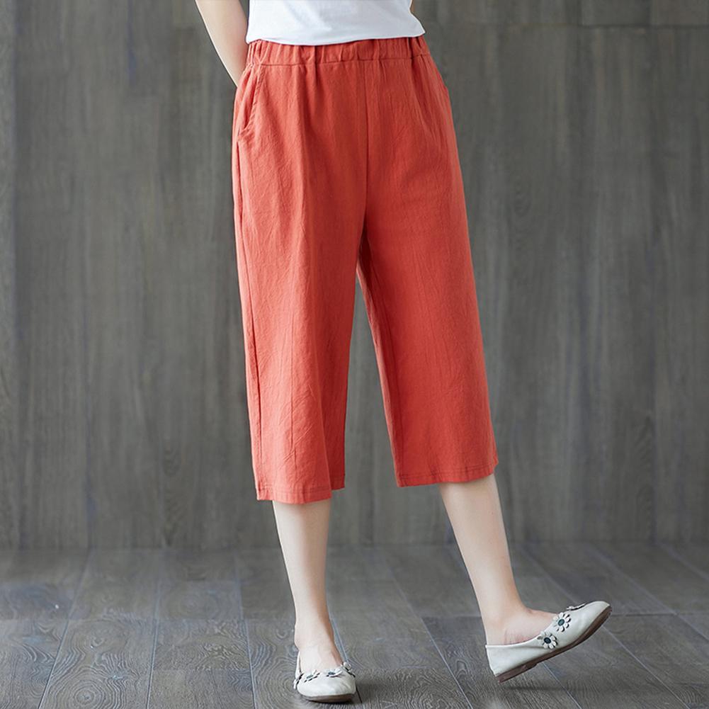2020 Spring Women Harem Pants Causal Trousers Summer Women Elastic Loose Wide Leg Straight Solid Color Capri Pants Trousers
