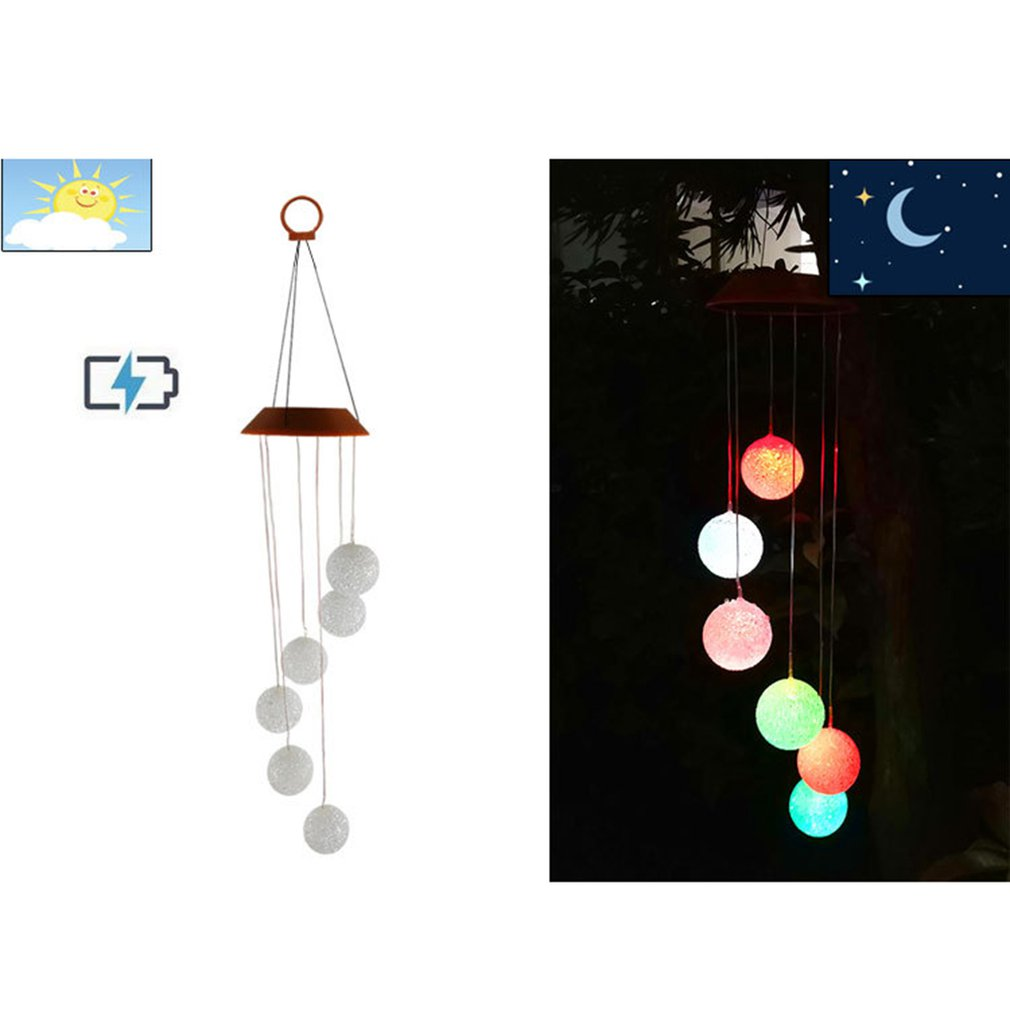 Color-Changing LED Solar Powered Wind Chimes Crystal Ball Outdoor Decoration Solar Wind Ring Light Yard Garden Decorations