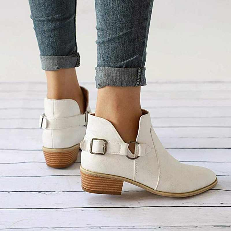 Litthing Women PU Leather Chelsea Boot Autumn And Winter First Layer Cowhide Wood Grain Thick Square Toe Short Boots