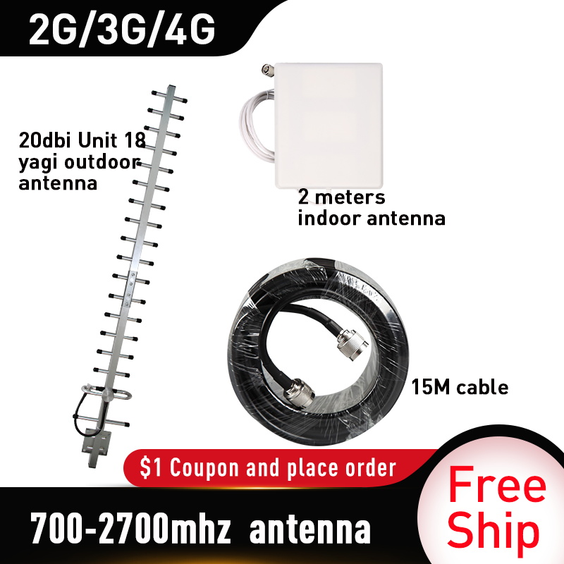 700-2700mhz 20dbi Yagi Outdoor Antenna WCDMA UMTS GSM LTE DCS 20dBi Gain Outside Yagi Antenna For Cell Phone Booster Repeater