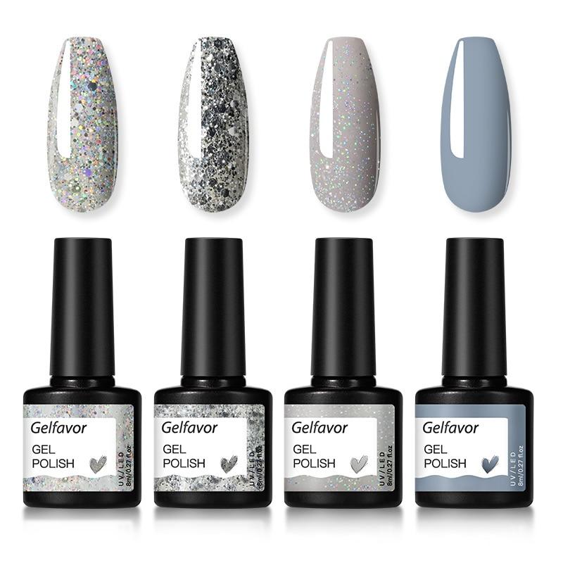Gelfavor Gel Nail Polish Set Hybrid Varnishes 4/6Pcs Base Top For Nails UV LED Lamp Gel  Kits Manicure Nails Gel Polish Set 15