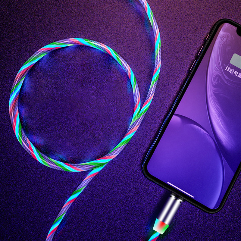 1m Magnetic Cable USB Type C Cord Flow Luminous Lighting Data Wire For iphone Huawei Xiaomi Mobile Phone LED Magnetic Cable cord in Mobile Phone Cables from Cellphones Telecommunications