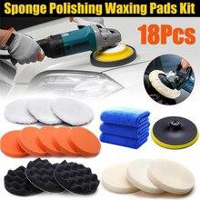 18 PCS/Set Car Polishing Sponge Pad Waxing Wheel Wool Ball Tool Buffer Polisher Set Auto Maintain Care with Towel