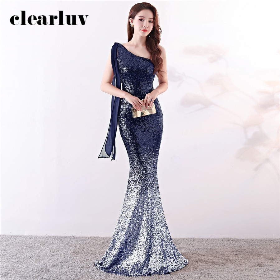 One-Shoulder Evening Dress Gradient Sequins Formal Dress DX357 Elegant Plus Size Prom Gown Sleeveless Floor Length Mermaid Dress