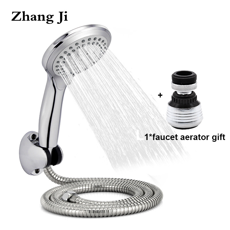 Zhangji Round Rain Shower Head Sets Wall Mounted Bathroom Shower Hose Shower Holder Adjustable 5 Functional