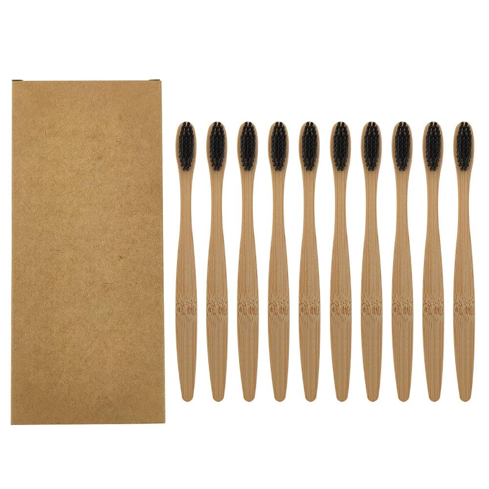10 pièces coloré naturel bambou brosse à dents ensemble doux soies charbon de bois blanchiment des dents bambou brosses à dents doux dentaire soins bucco-dentaires