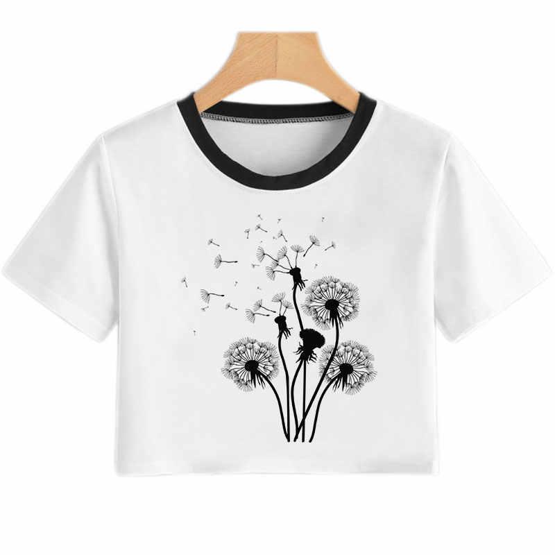 夏の女性の tシャツ花タンポポプリントセクシーなシャツクロップトップトップス tシャツ楽しい流行美的カジュアル tシャツ原宿クロフォロー