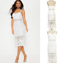 FREE SHIPPING SPRING&SUMMER LADIES STRAP WHITE LACE DRESS 2019 MIDI WOMEN SEXY