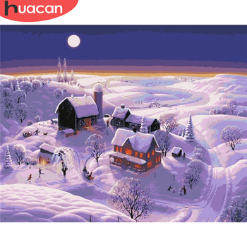 HUACAN Painting By Number Snow Drawing On Canvas HandPainted Painting Art Gift DIY Pictures By Number Winter Kits Home Decor