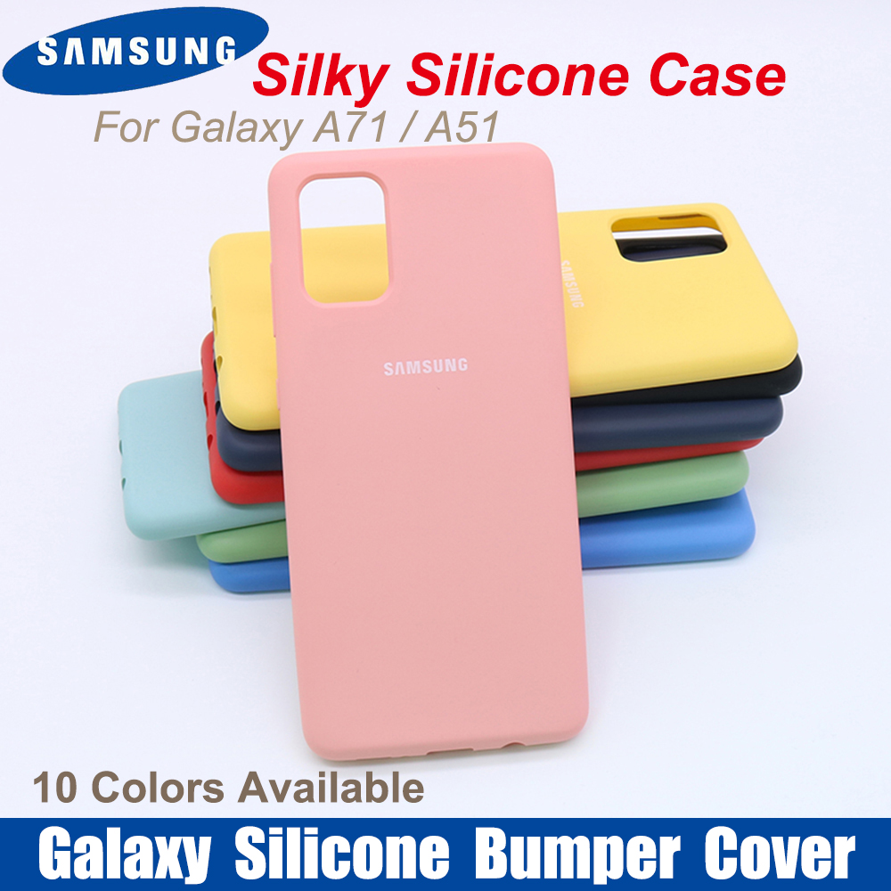 For Original Galaxy A71 A51 Case Bottom Closed Silky Silicone Cover Soft-Touch Full Protective Galaxy A70S A50 M30