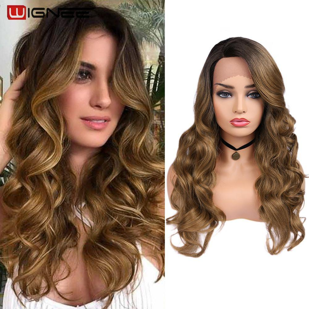 Wignee 2019 New Arrival Lace Front Synthetic Wigs For Women Side Part Ombre Brown Long Hair Wavy Wigs Cosplay Daily Or Party Wig