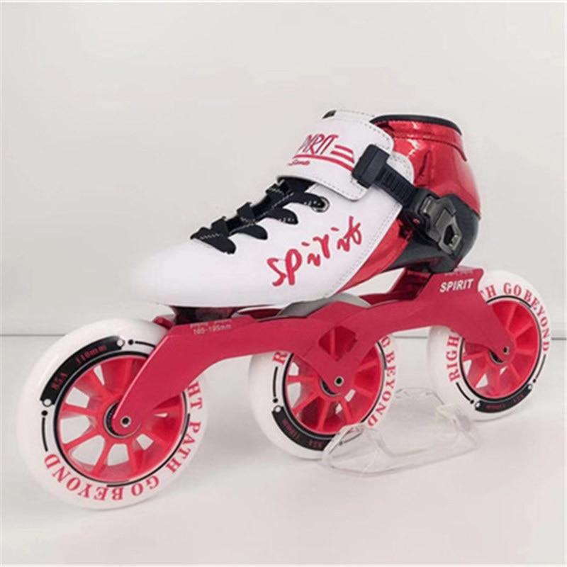 Fibre de carbone professionnelle 3 roues Marathon 125mm 85A patins de vitesse en ligne Patines 3X125mm asphalte sol route course 3 roues Pro