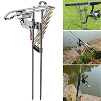 Stainless Steel Fishing Rod Holder Rack Automatically Pulls Back Portable Double Spring H7JP