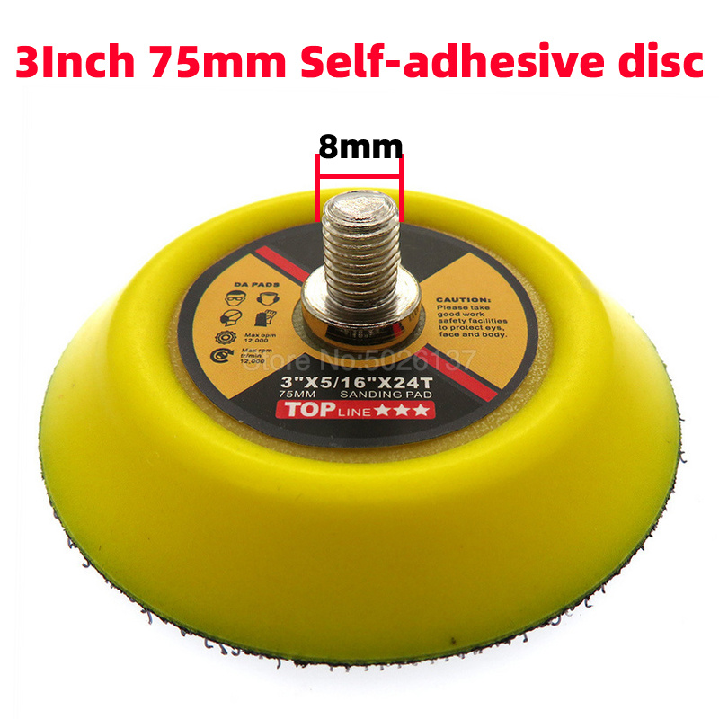 1Pcs 3 Inch 75MM M8 Shank Pneumatic Plate Tray Self-adhesive Polishing Pad Sandpaper Sucker Disc Electric Grinder Polisher Disk