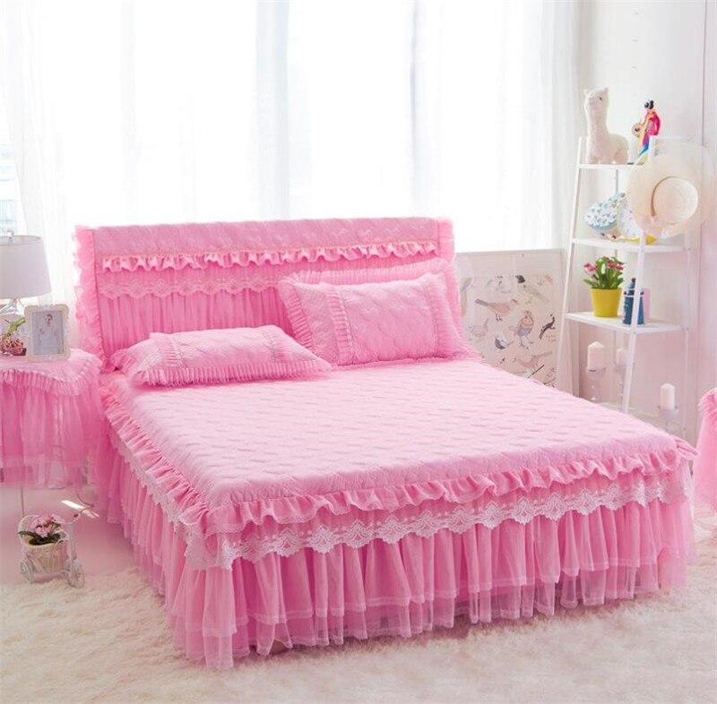 Уплотненные теплые кружева принцесса постельные принадлежности кровать юбка наволочки зимние Нескользящие простыни матрас крышка король королева размер кровать крышка|Кроватный подзор| | АлиЭкспресс