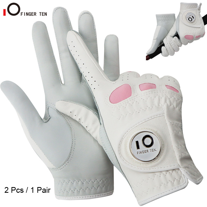 2 Pack or 1 Pair Cabretta Leather Womens Golf Gloves with Ball Marker Left Right Hand Extra Grip Ladies Sizes S M L XL