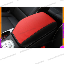 Lsrtw2017 Fiber Leather Abs Car Armrest Cover for Hyundai Tucson 2015 2016 2017 2018 2019 2020 Carbon Interior Accessories