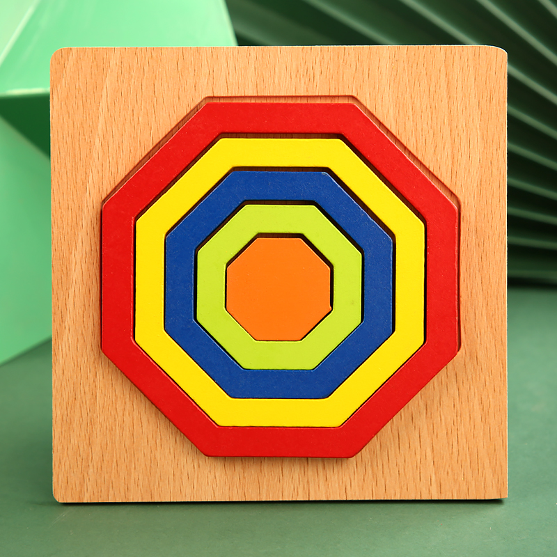 High Quality Colorful 3D Wooden Geometric Shapes Cognition Puzzles Board Math Game Montessori Learning Educational For Kids Toys 14