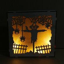 Деревянный светодиодный светильник для Хэллоуина, квадратный, лазерный, полый, тыквенный человек, паук, сетчатый светильник, трехмерные украшения