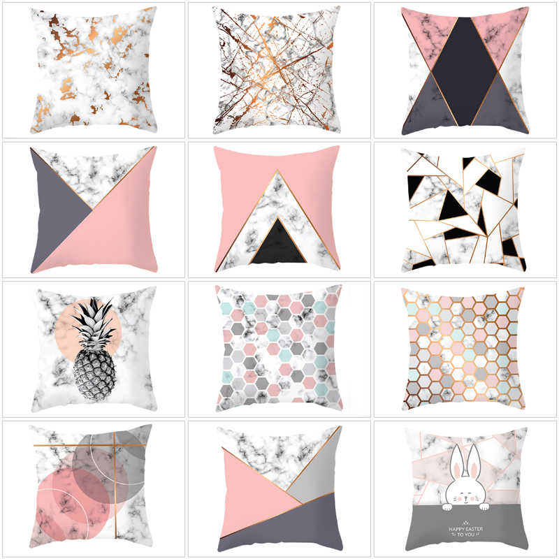 Home Textile Cushion Cover Geometric Nordic Pink Pillow Cover Square Polyester Cushion Case Sofa Bed Decorative Pillowcase