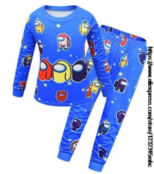 Game Among US Boy's Home Service Suit Underwear Cartoon Clothes Long-Sleeved Trousers Child Nightclothes Indoor Cotton Sleepwear 14