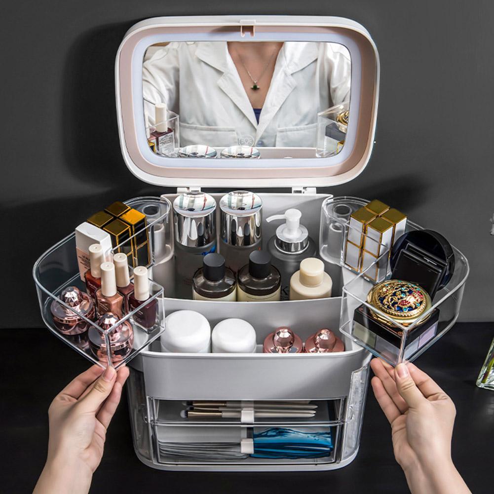 espelho led cosmeticos organizador portatil caixa de 04