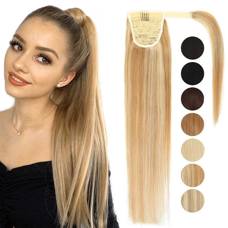 MRSHAIR אמיתי טבעי שיער טבעי פוני זנב הארכת שיער בלונד שיער לעטוף קוקו קליפ Hairextensions מכונה רמי פאה