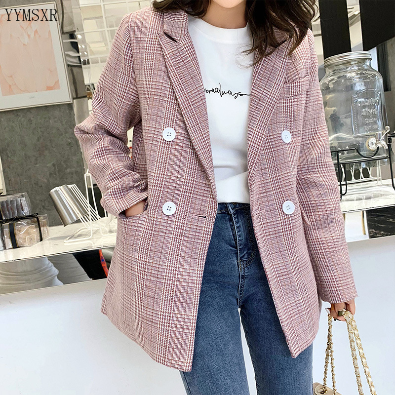 Fashion high quality plaid ladies blazer jacket top 2019 new autumn loose women's mid-length jacket small suit Female Coat
