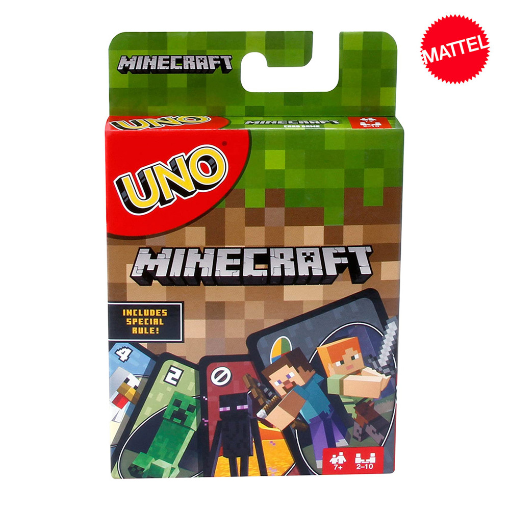 Mattel Games UNO Minecraft Card Game Family Funny Entertainment Board Game Fun Poker Kids Toys Playing Cards