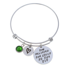 Not sisters by blood but sisters by heartBirthstone Bangle Bracelets Stainless Steel Charm Bracelet For Women Friendship Gift trial by blood