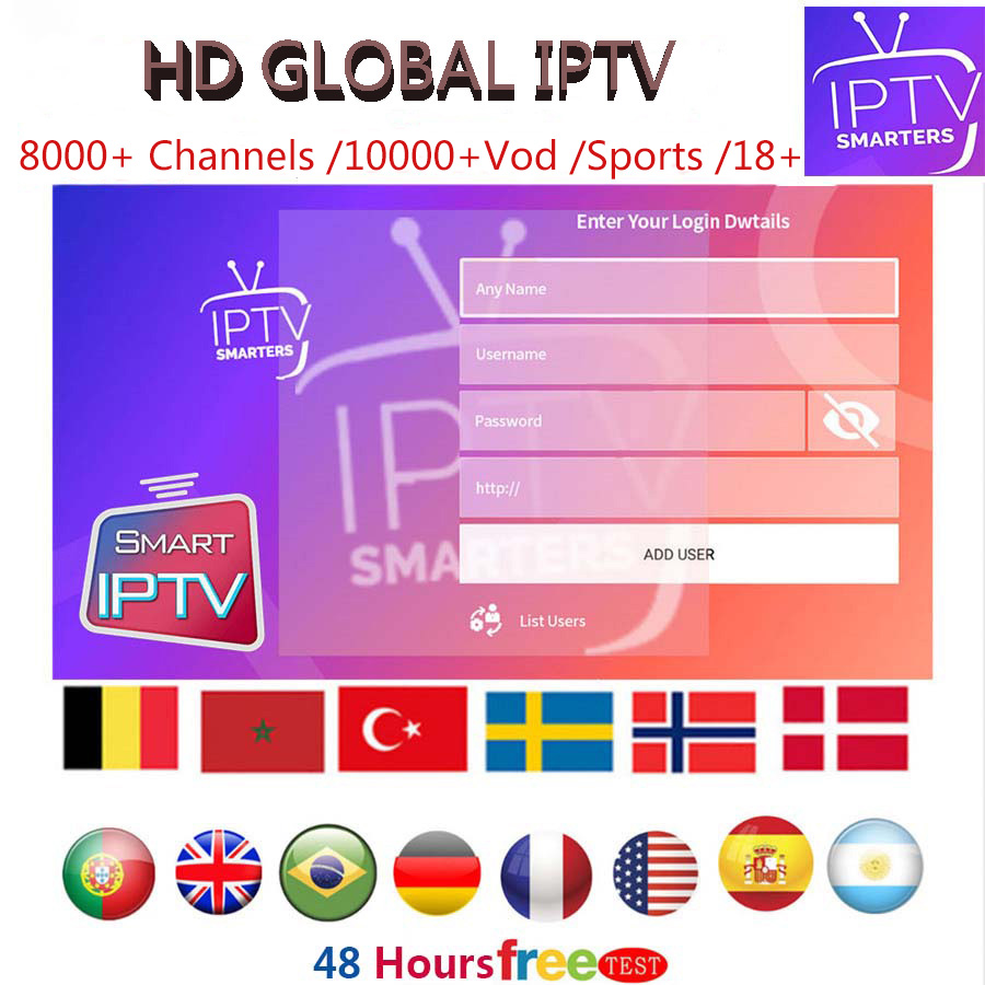 HD IPTV SERVER Subscription 10000+ Channels/VOD/ FOOTBALL LEAGUE/ ADULT 18+/Europe US CANADA BRAZIL  Live For IOS/Android/Mag