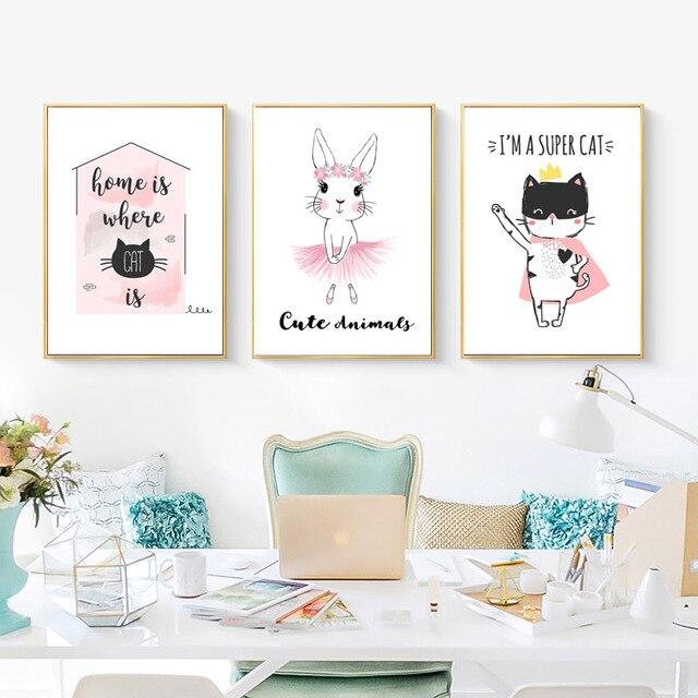 Affiche en toile dart mural pour bébé | Affiche de dessin animé lapin chat, peinture, décoration nordique pour enfants, décoration image denfant, Cuadros pour chambre denfants