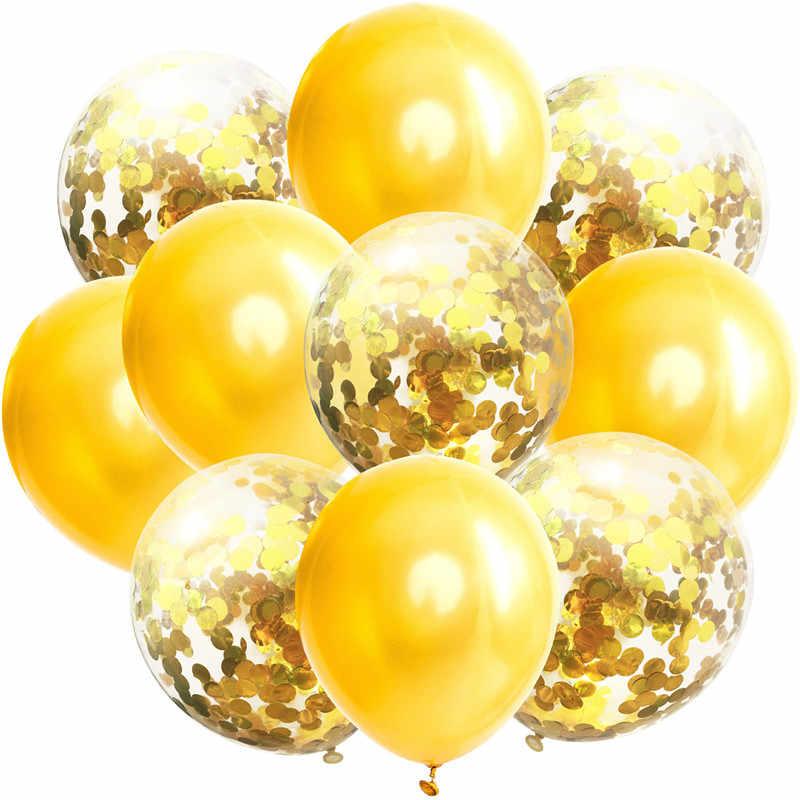 Mignon 10 pièces/lot 10 pouces anniversaire décoration bleu rose confettis ballon joyeux anniversaire Ballons bébé douche sexe révéler Ballons