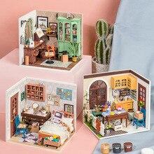 Robotime Rolife DIY Wooden Dollhouse Romantic time Miniature DGM07  Jimmy's Studio DGM08 Annie's bedroom DGM09 Restaurant Toys