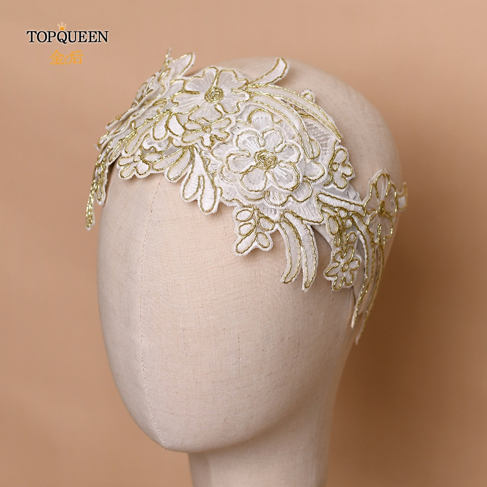 TOPQUEEN HP265 Flower Crown Headband For Women Tiara Flower Crown White Lace Bridal Headband Girls Crown Headband Headpieces