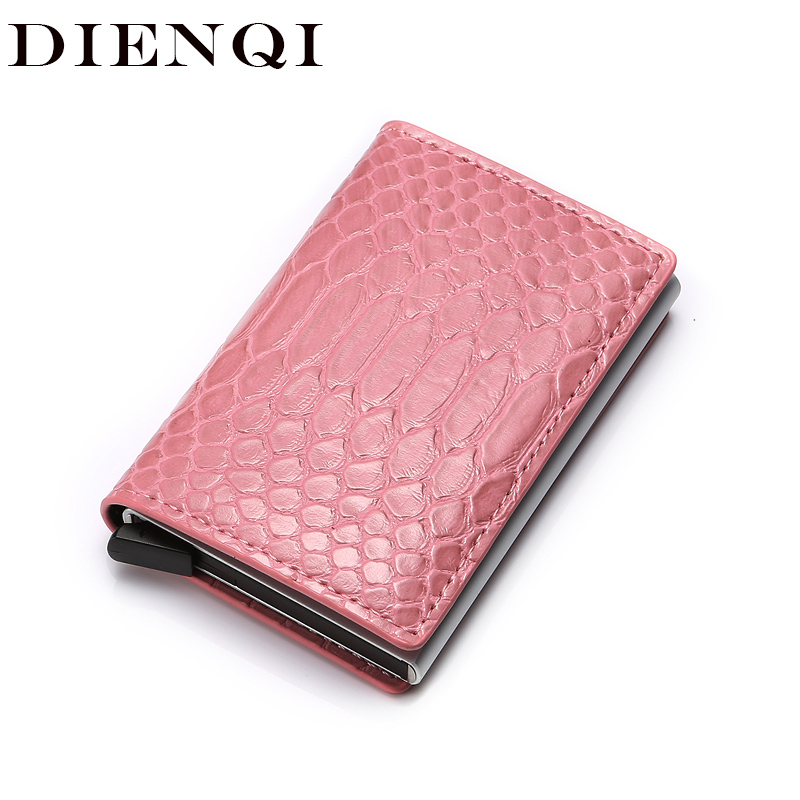 DIENQI Rfid Card Holder Women Men Coin Purses Slim Smart Wallets Leather Change Purse Money Bag Male Purse 2019 Small Coin Pouch