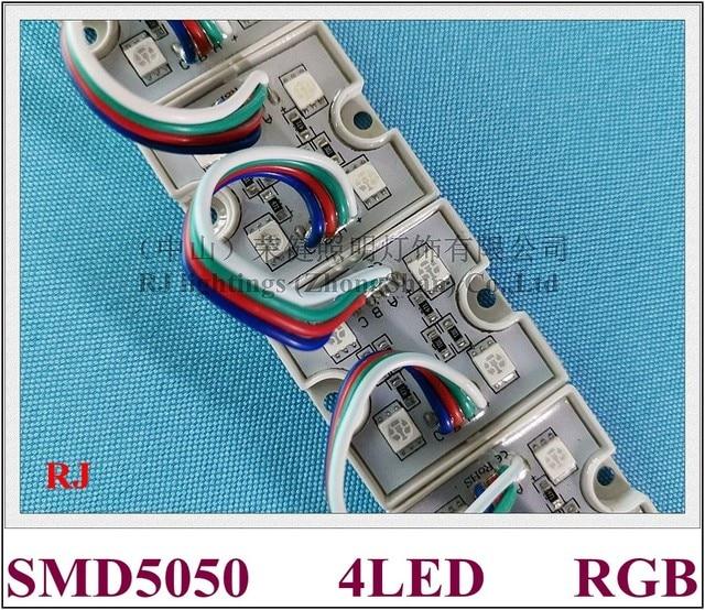 Módulo LED RGB 5050, luz de módulo de píxeles LED impermeable para Letras de señal y Canal SMD5050 DC12V, 4 unidades led, envío gratis