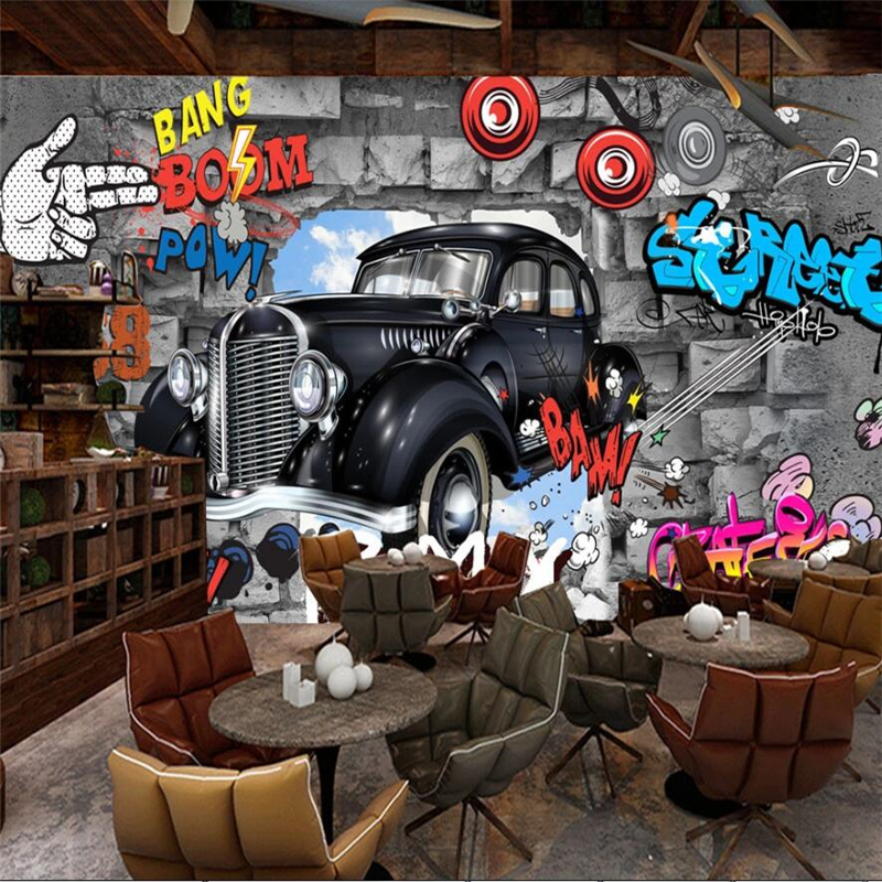Beibehang Custom <font><b>wallpaper</b></font> large wall painter retro retro European <font><b>3D</b></font> brick wall <font><b>car</b></font> graffiti mural <font><b>wallpaper</b></font> papel de parede image