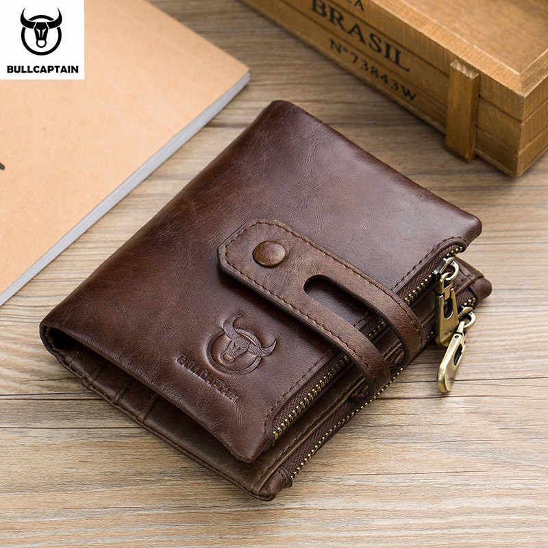 BULLCAPTAIN Genuine Leather RFID Men Wallet Credit Business Card Holders Double Zipper Cowhide Leather Wallet Purse Carteira 021