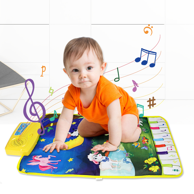 37.5x62cm New Kid Baby Touch Play Game Carpet Mat with 8 Keys & 7 Animals Sounds Musical Toy Singing Music Moon and Animals
