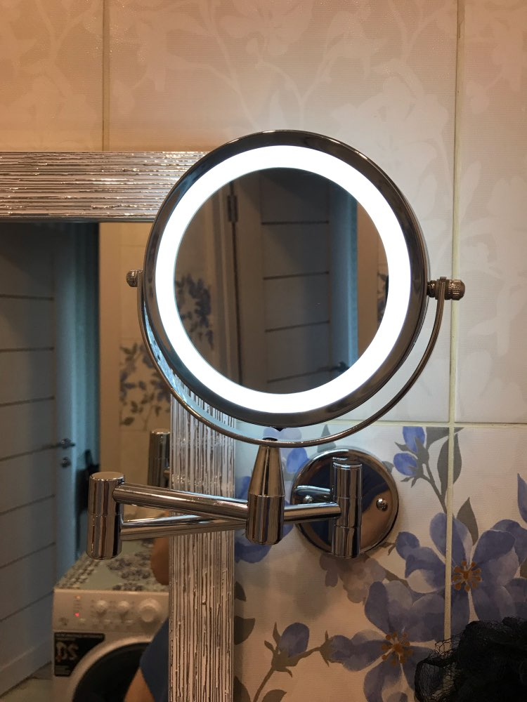 Miroir de bain mural, grossissement 1X/5X avec miroir de bain réglable à double bras de 6 pouces, miroir de cosmétique à 2 faces