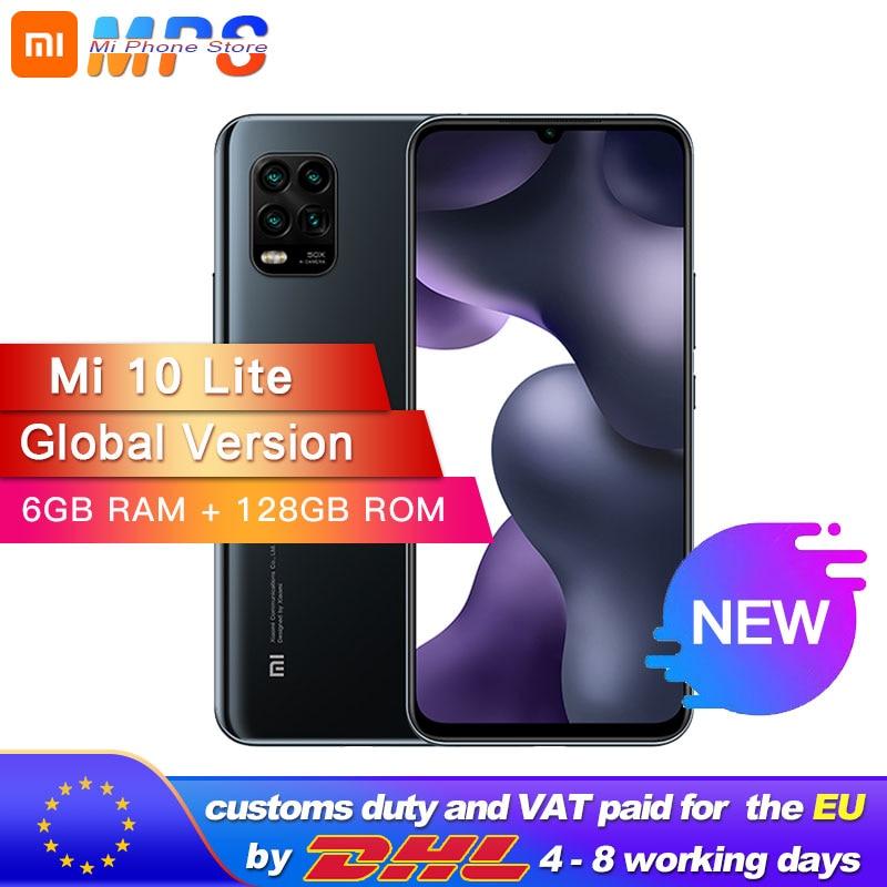 Versión Global Xiaomi Mi 10 Lite 5G teléfono inteligente 128GB 6GB Snapdragon 765G Octa Core 48MP AI Quad cámaras 6,57