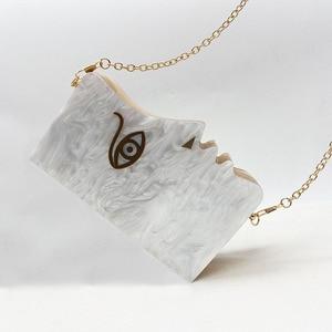 Image 2 - 2020 Wood Personality Splicing White Acrylic Retro Unique Half Face Hard Box Evening Bag Ridesmaid Handbag Luxury Clutch Purses