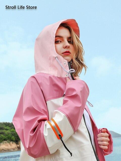 Waterproof Long Rain Coat Women Pink Trench Raincoat Long Outdoor Jacket Cover Rain Poncho Hiking Adult Gabardina Mujer Gift 2
