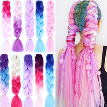 "100g/Pack 24"" Ombre Color Jumbo Braids Blue Pink Purple Yellow Golden 86 Colors Crochet Braids Soft Hair Extension"